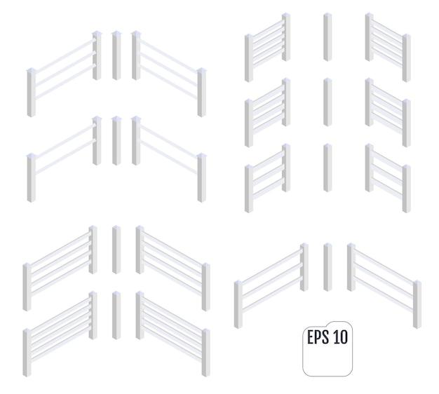 Vettore di sezioni di recinzione bianca isometrica