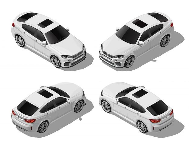 L'automobile fuori strada bianca isometrica ha messo dai lati differenti, dal veicolo moderno, dal lux o dal concetto di sport, il trasporto urbano, isolato su fondo bianco