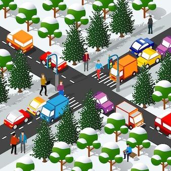 Quartiere della città invernale isometrica con strade, persone, automobili.