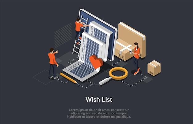 Concetto di lista dei desideri isometrica. i personaggi delle persone minuscole preparano la lista dei desideri da compilare