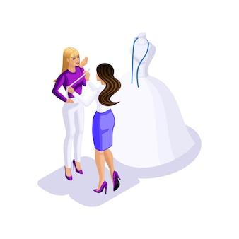 Donna isometrica che si prepara per il matrimonio, la sposa che comunica con il designer nello studio di cucito per creare un abito da sposa, un laboratorio di cucito