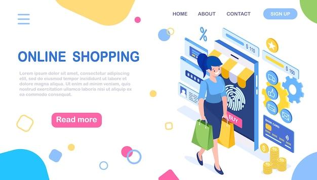 Donna isometrica con borsa, smartphone, soldi, carta di credito, impronta digitale