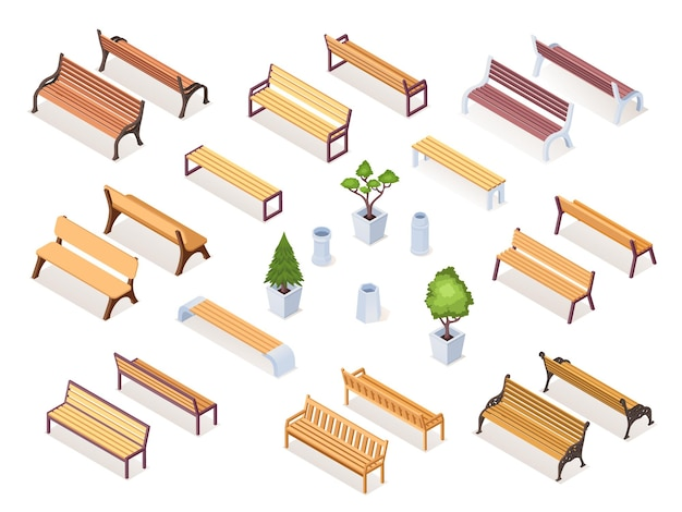Panca isometrica in legno o sedia da parco, vaso da giardino con cespuglio o albero. mobili da seduta realistici per il riposo in strada. oggetti in legno da esterno ed esterno. disegno di architettura urbana e stradale. isometria