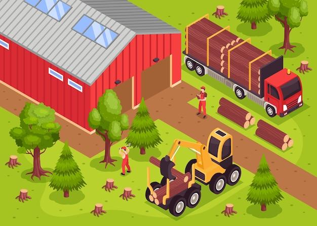 Composizione isometrica nella segheria di legno con paesaggio all'aperto e costruzione di magazzini con bulldozer e camion con illustrazione di persone