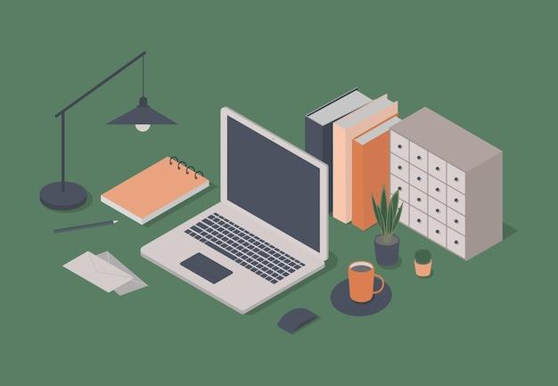 Concetto di spazio di lavoro isometrico con set di oggetti di cancelleria e laptop
