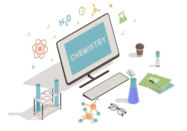 Area di lavoro isometrica con il concetto di educazione informatica