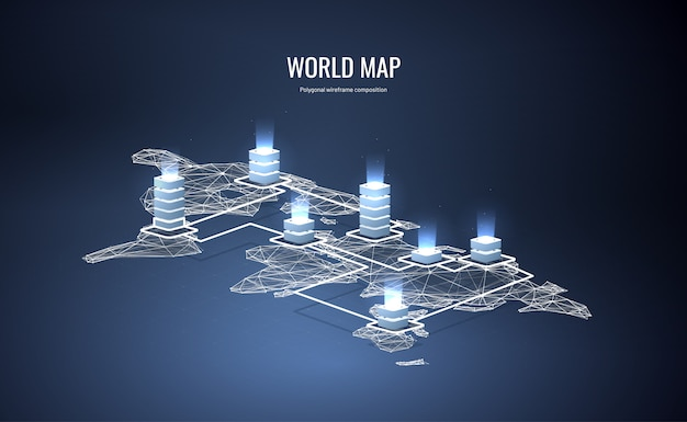 Mappa del mondo isometrica in stile wireframe poligonale