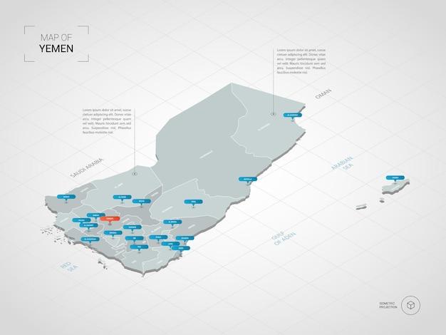 Mappa isometrica dello yemen. illustrazione stilizzata della mappa con città, confini, capitale, divisioni amministrative e indicatori di direzione; sfondo sfumato con griglia.