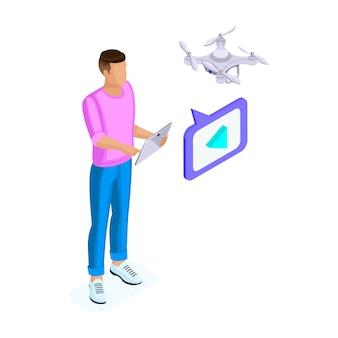 Vista isometrica di un giovane che gira video con drone quadrocopter, drone aereo remoto con una fotocamera che scatta foto o videogiochi. illustrazione