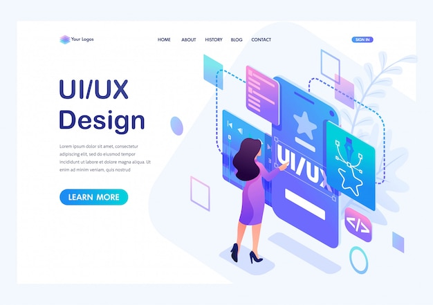 Una giovane donna isometrica crea un design personalizzato per un'applicazione mobile, il design ui ux.