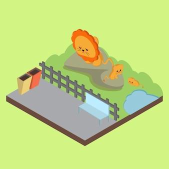 Illustrazione di zoo isometrica