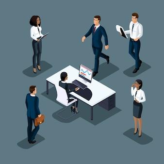 L'uomo d'affari isometrico su uno sfondo grigio di diverse nazionalità sta facendo affari. sviluppo di affari internazionali, conferenze, riunioni 3