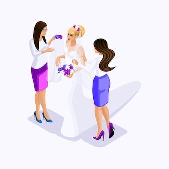 I venditori di isometrici aiutano la sposa a vestirsi per adattarsi all'abito da sposa, abiti da sposa, illustrazione