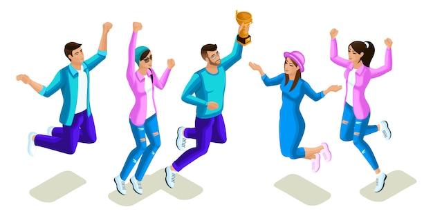 Adolescenti isometrici che saltano, design luminoso, generazione z, ragazze e ragazzi fantastici, persone, telefoni, gadget su sfondo bianco