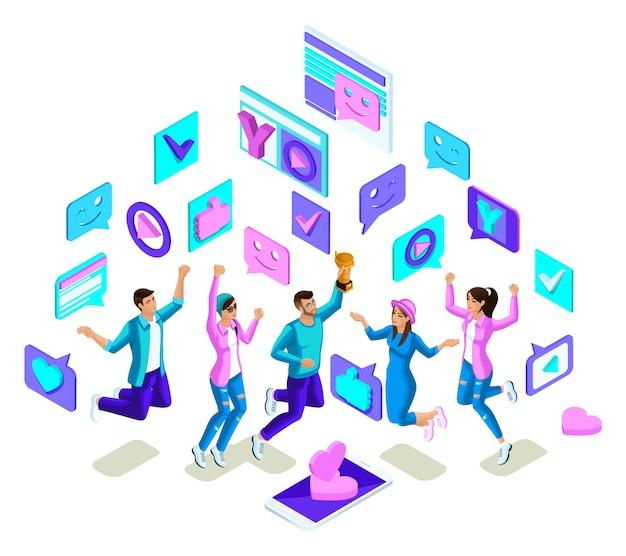 Adolescenti isometrici che saltano, design luminoso, generazione z, giovani fantastici, telefoni, gadget su uno sfondo bianco