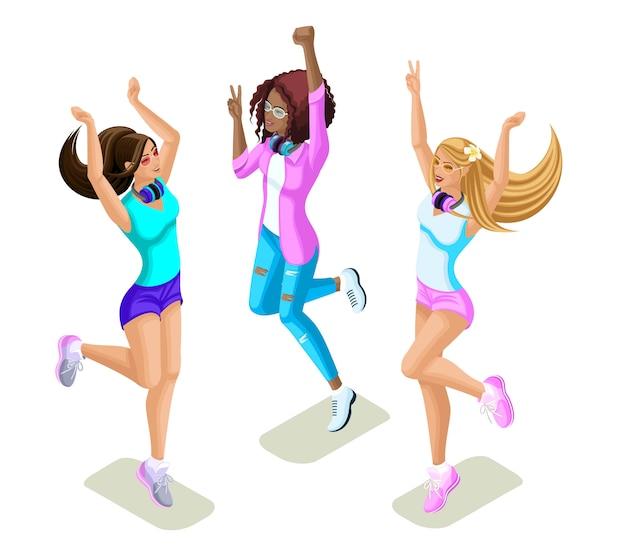 Adolescenti isometrici che saltano, generazione z, ragazze toste, belle e giovani, divertenti e luminose, vestiti estivi, telefoni, gadget