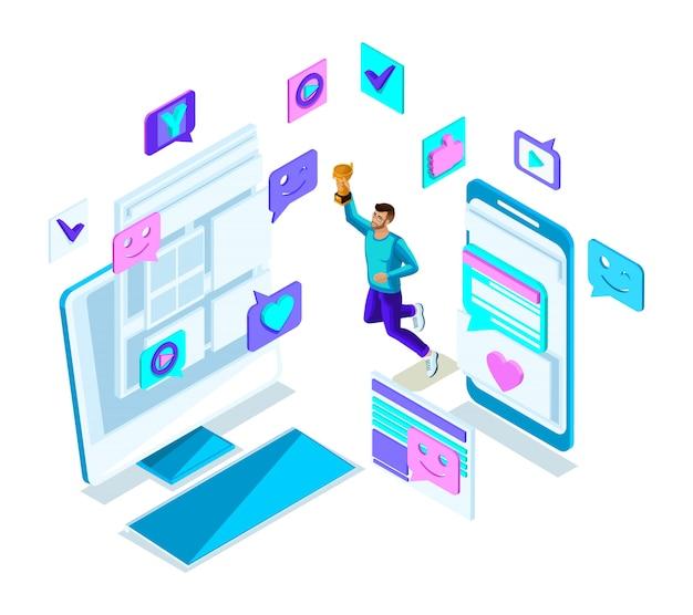 Isometria ragazzo figo adolescente, salto, generazione z, bel giovane e forte, telefoni di comunicazione nei social network, gadget set 2