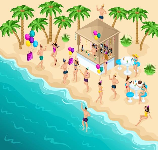 Isometria che balla sulla spiaggia, festa, festa di compleanno,