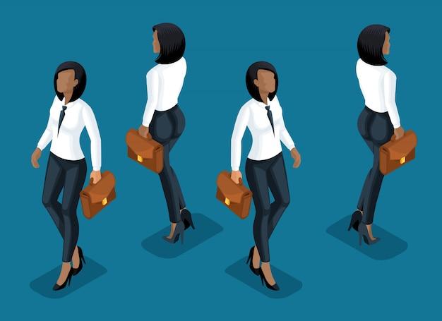 Isometry è una donna d'affari. ragazza di un impiegato, in pantaloni business e una camicetta vista frontale e vista posteriore in movimento. ragazza per