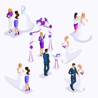 L'isometria è una cerimonia di matrimonio in uscita, la sposa e lo sposo. preparazione della sposa per il matrimonio, abiti di design laboratorio di cucito, atelier costoso