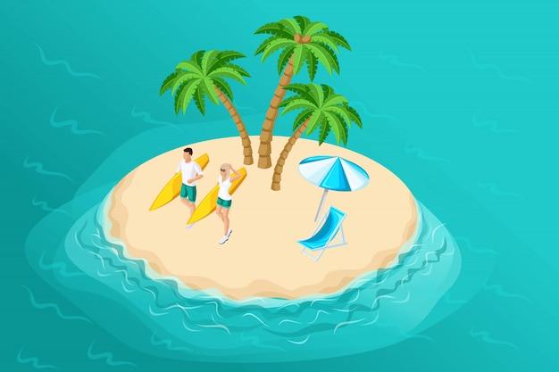Isometria è un'illustrazione estiva con un'isola paradisiaca per una compagnia di viaggi, una pubblicità ricreativa con personaggi, un uomo e una donna con una tavola da surf