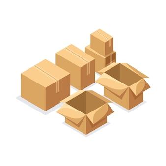 Isometria un set di scatole di cartone di varie forme, scatole chiuse e aperte. impostato per l'uso nei concetti di consegna e magazzino