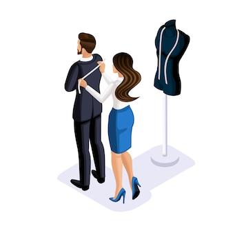 Isometria del sarto, lo stilista lavora con il cliente per creare abiti su ordinazione in studio, laboratorio. l'imprenditore che lavora per se stesso, la propria attività
