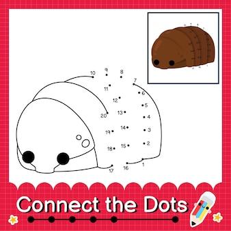 Il puzzle per bambini isopod collega il foglio di lavoro dei punti per i bambini che contano i numeri da 1 a 20
