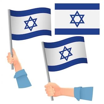 Set bandiera israeliana in mano