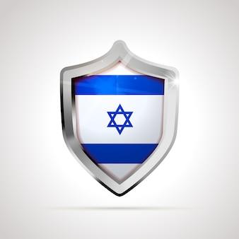 Bandiera di israele proiettata come uno scudo lucido