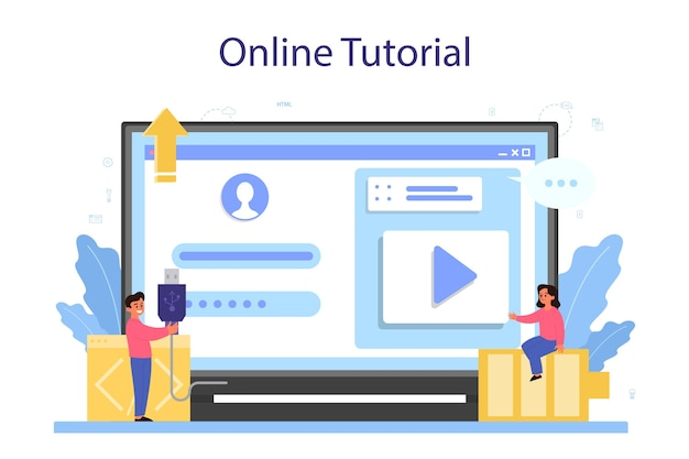 Servizio o piattaforma online per l'istruzione it. studente scrive software e crea codice per computer.