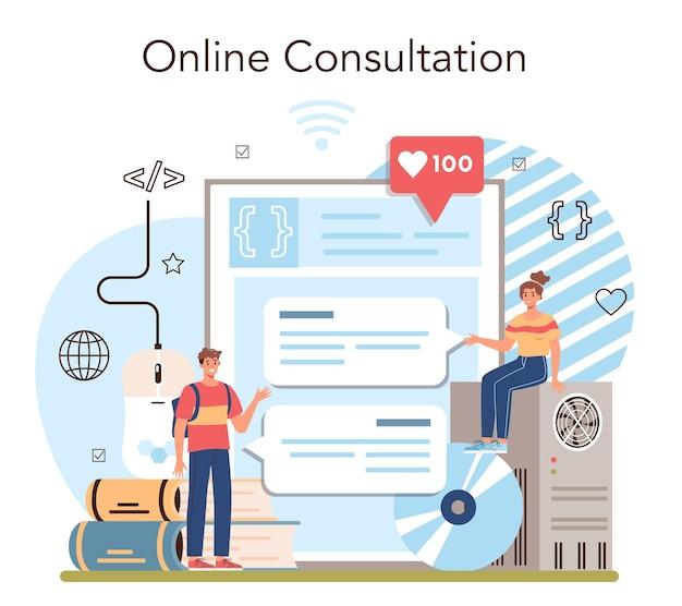 Educazione online servizio o piattaforma software di scrittura per studenti