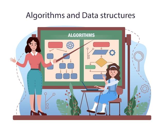 Istruzione informatica. studenti che apprendono algoritmi, intelligenza artificiale e computer