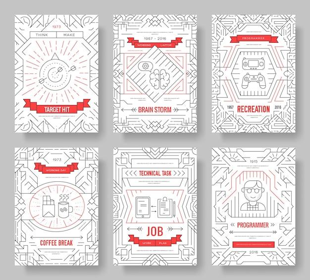 È un set di linee sottili di carte geek. modello di sviluppatore professionale per ufficio di flyear, copertina del libro, banner.