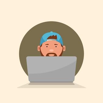 È un ragazzo seduto con la vista frontale del laptop