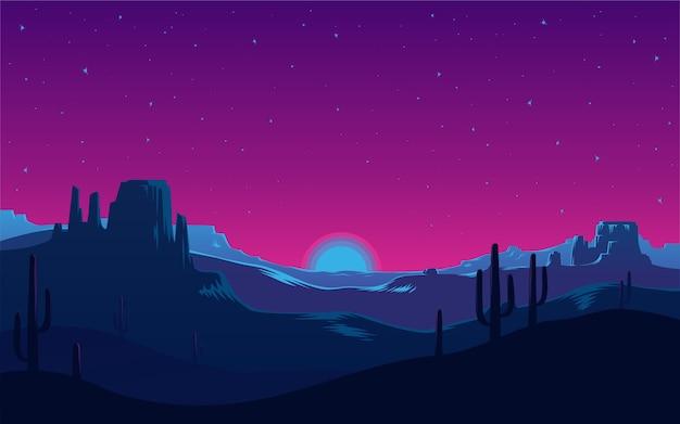 È viola un neon in declino nel deserto.