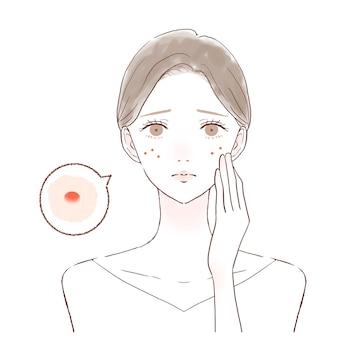 È una donna a cui importa del nikibi del viso.