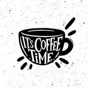 È l'ora del caffè. manifesto dell'iscrizione dell'annata. citazioni sul caffè