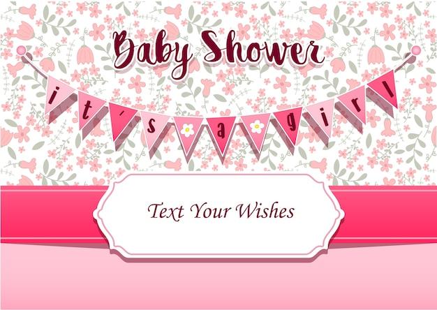 È un modello di disegno di carta di invito di doccia di bambino ragazza