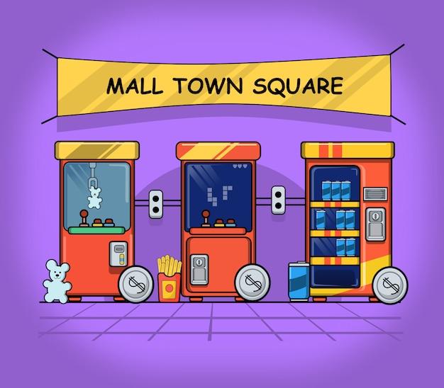 È l'illustrazione piatta del tempo del centro commerciale