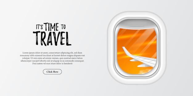 È tempo di viaggiare intorno al turista mondiale per le vacanze estive. illustrazione della finestra oblò dell'ala e vista del tramonto.