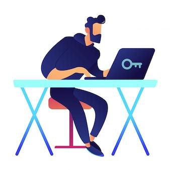 Specialista it allo scrittorio che lavora all'illustrazione di vettore del computer portatile.