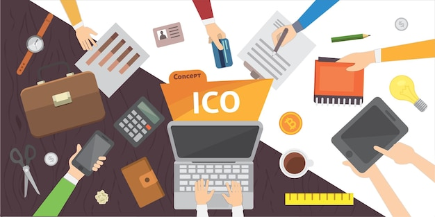 Crowdfunding di startup it. illustrazione ico blockchain.