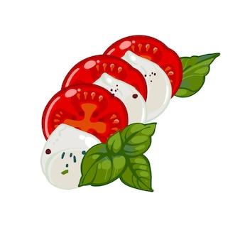 Insalata caprese italiana con pomodori, mozzarella e basilico, illustrazione disegnata a mano