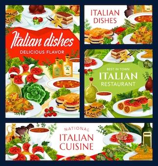 Piatti della cucina italiana zuppa torinese, zuppa di pomodoro piccante, frittata di formaggio vegetale e pasta ai funghi