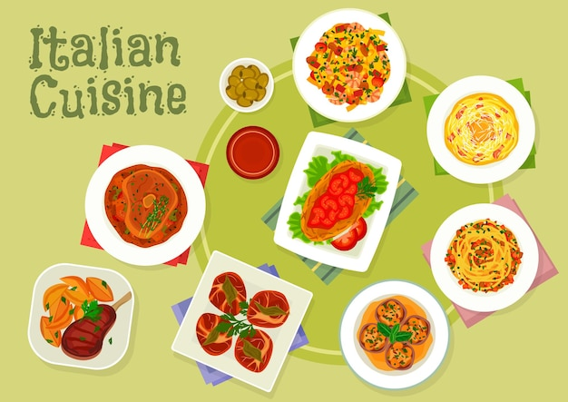 Piatti di carne della cucina italiana con pasta alla carbonara