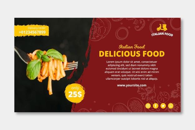 Modello di banner pubblicitario di cibo italiano