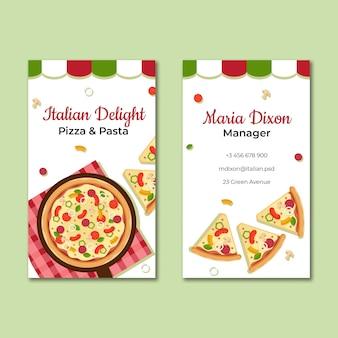 Modello di biglietto da visita del cibo italiano