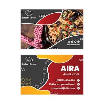 Biglietto da visita di cibo italiano
