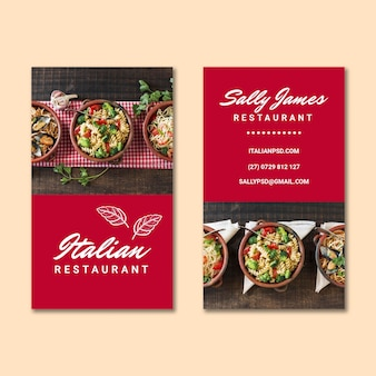 Biglietto da visita fronte-retro di cibo italiano